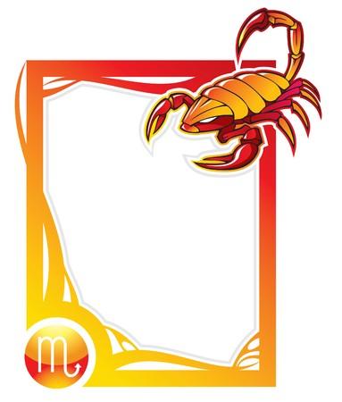 escorpio: Scorpio, el octavo signo de la serie de los marcos de Zodiaco en estilo de dibujos animados, ilustraci�n Vectores