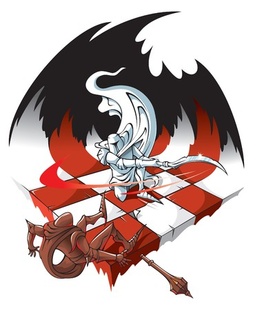 the rook: The White knight is defeating the Black knight on chessboard,  illustration