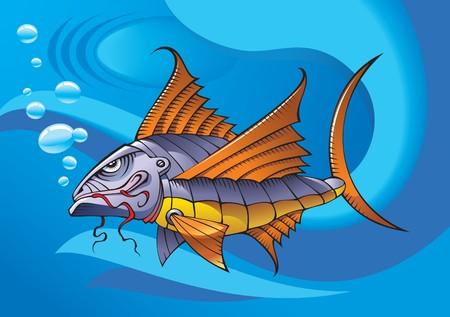 nimble: Mechanical robot fish, ocean background,  illustration