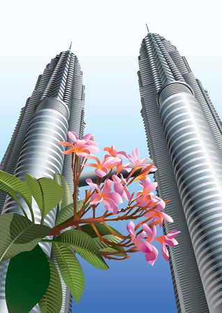Twin Towers with flowers in the foreground, Kuala Lumpur, Malaysia,  illustration