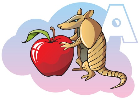 Series of Children alphabet: letter A, armadillo and apple Vector