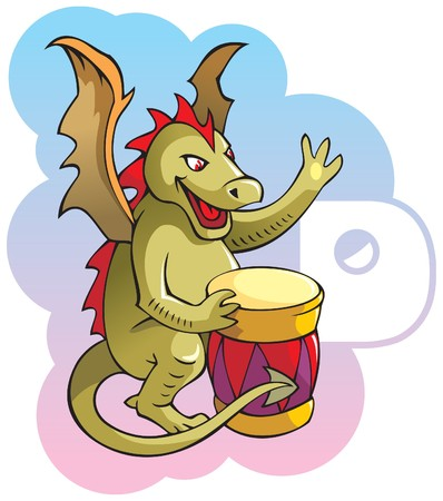 drum set: Series of Children alphabet: letter D, dragon and drum Illustration