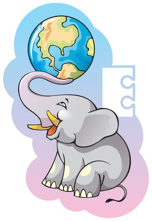 Series of Children alphabet: letter E, elephant and earth Vector