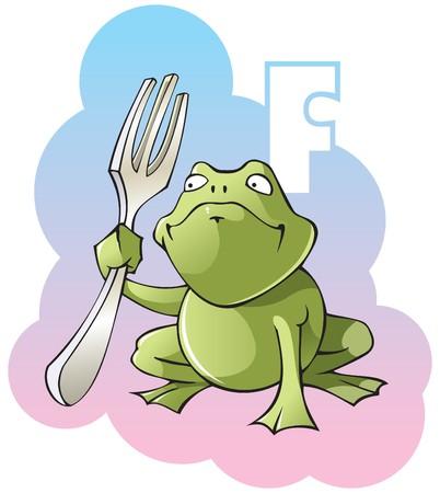 Series of Children alphabet: letter F, frog and fork Vector