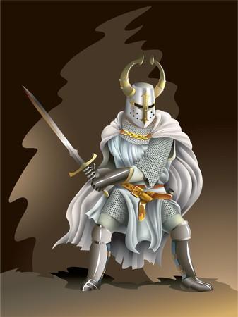 Pesados blindados cruzado, Caballero de la orden, con una espada en sus manos Ilustración de vector