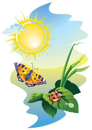 Sunrise scene: flying butterfly and ladybug upon the leaves with water drops Stock Vector - 7114818