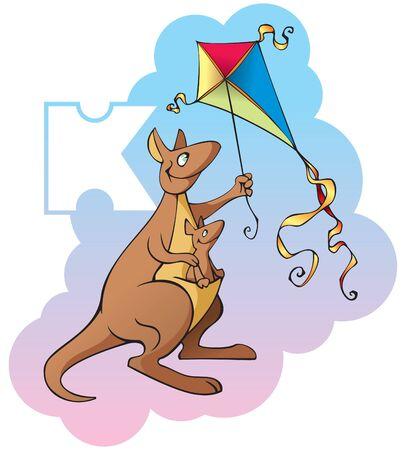 Series of Children alphabet: letter K, kangaroo and kite, cartoon illustration Vector