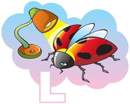 Series of Children alphabet: letter L, ladybug and lamp, cartoon. Stock Vector - 7237265