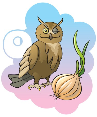 Series of Children alphabet: letter O, owl and onion, cartoon illustration Vector