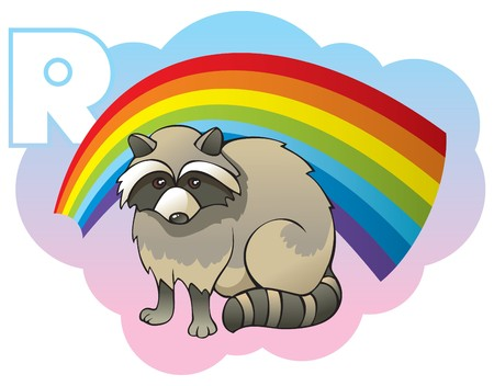 Series of Children alphabet: letter R, raccoon and rainbow, cartoon illustration Vector