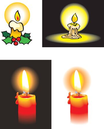 photo real: Collection of burning candle, cartoon and photo-realistic.
