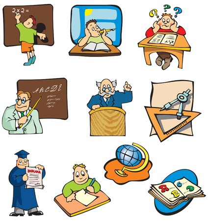 Collection of education cartoon pictures, students, teachers and objects. Vector