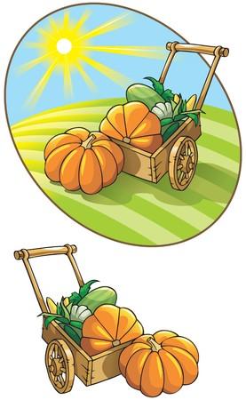 melon field: Autumn harvest: wheelbarrow with vegetables, illustration