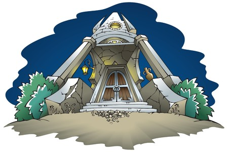 spire: The entrance to the haunted mansion, old gates, almost ruined tower, illustration