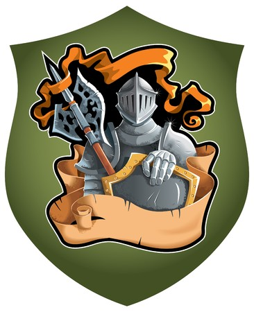 chevalerie: Composition h�raldique avec le chevalier en armure compl�te, d�filement d�chir� et banni�re de la flotte, illustration