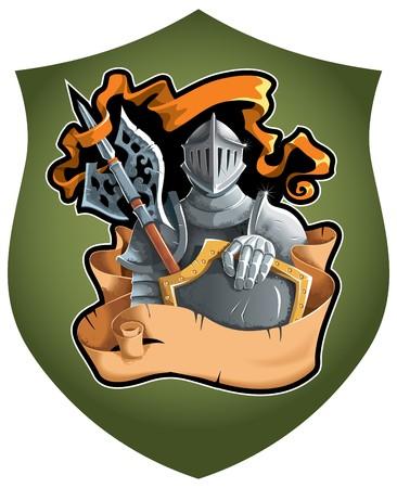 Composition héraldique avec le chevalier en armure complète, défilement déchiré et bannière de la flotte, illustration