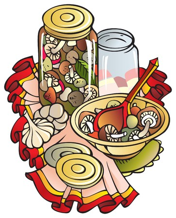 canning: Preserving, canning and cooking fresh mushrooms, colored tablecloth, illustration Illustration