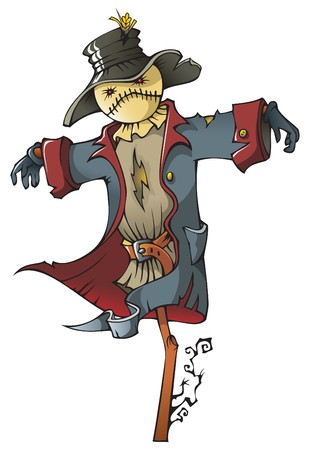 Evil scarecrow wearing old military uniform, cartoon illustration