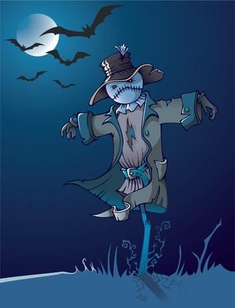 scarecrow: Espantap�jaros mal bajo la Luna, la escena de la noche, la ilustraci�n de dibujos animados