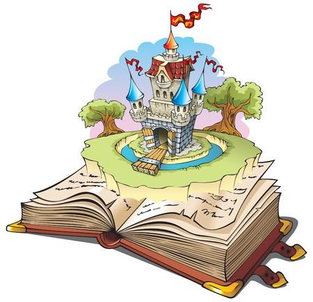 chevalerie: Magique de monde de contes, Ch�teau de conte de f�es apparaissant du livre ancien, caricature illustration