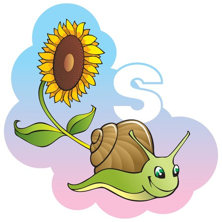 Series of Children alphabet: letter S, snail and sunflower, cartoon illustration Vector