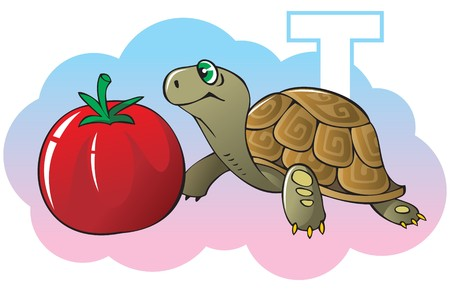 glyph: Series of Children alphabet: letter T, turtle and tomato, cartoon illustration