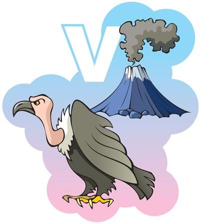 vulture: Series of Children alphabet: letter V, vulture and volcano, cartoon illustration Illustration