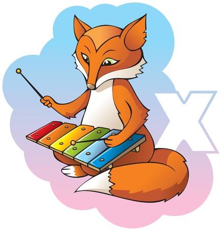 Series of Children alphabet: letter X, foX and xylophone, cartoon illustration Stock Vector - 8107936