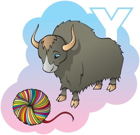 yak: Series of Children alphabet: letter Y, yak and yarn, cartoon illustration