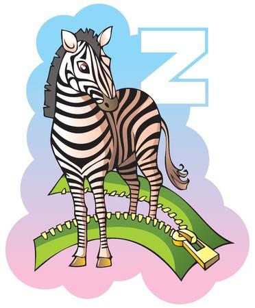 Series of Children alphabet: letter Z, zebra and zipper, cartoon illustration Vector