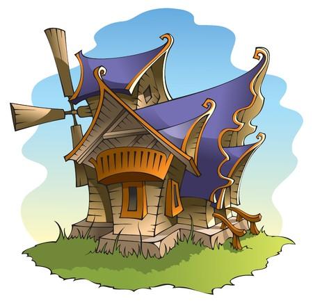 wind wheel: Mulino a vento fata di cartone animato con architettura stupefacente, illustrazione