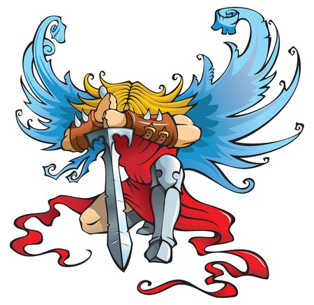guardian angel: Angel with large sword, kneeling with open wings, illustration Illustration