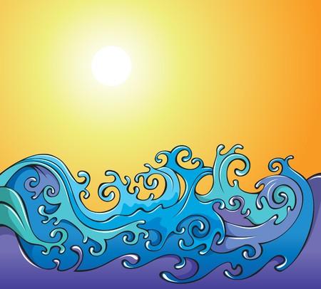 Swirling sea waves, cartoon illustration Illustration