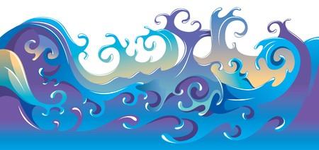 tide: Giran las olas del mar, dibujo animado de ilustraci�n  Vectores