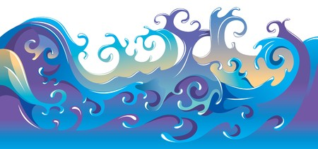 Swirling sea waves, cartoon illustration Vector
