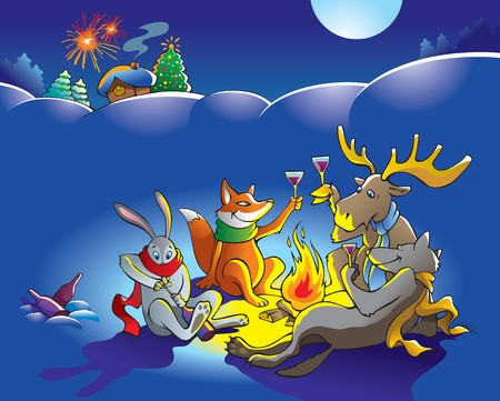 Forest animals celebrate Christmas near people&acirc,%uFFFD%uFFFDs house, illustration Vector