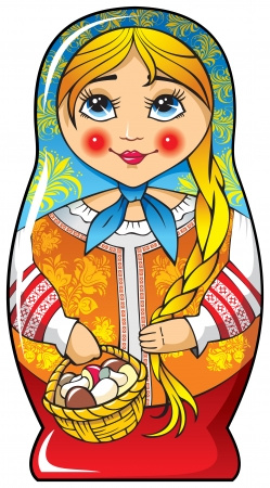 Traditional Russian matryoshka (matrioshka) doll, national style costume, vector illustration Vector