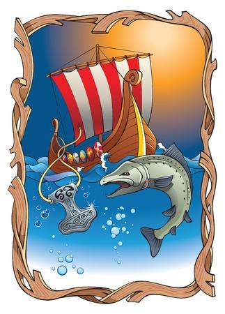 ship storm: Sinking Thor's hammer (viking amulet) with torn rope, salmon and drakkar (vikings longship) in the ocean, vector illustration Illustration