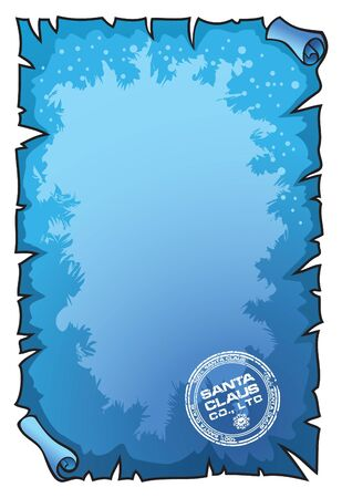 frosted: Scroll stamped with Santa Claus seal, frosted texture, vector illustration