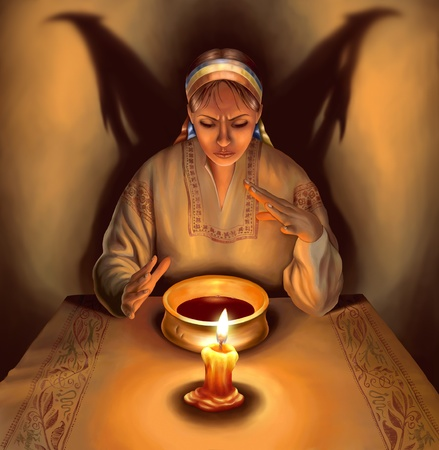 Witch dressed in traditional Ukrainian (Russian) clothes casting spells, with shadow in the form of demonic wings behind her, illustration illustration