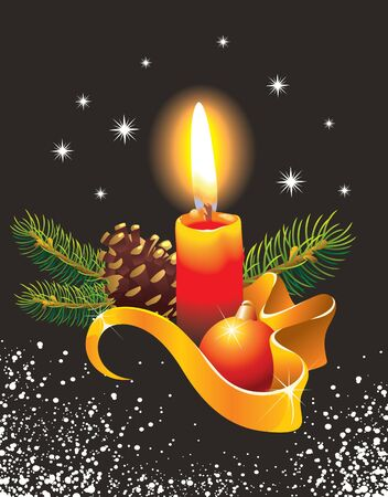 lit candles: Christmas greeting card: burning candle with decorative ribbon, Christmas ball, cone, fir tree branches on snowy background, vector illustration