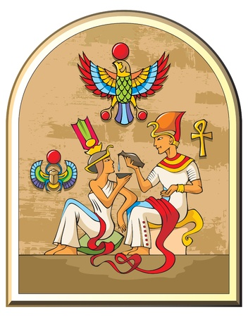 Stylized illustration of life in ancient Egypt, the pharaoh and the empress, papyrus background, symbols of falcon and scarab