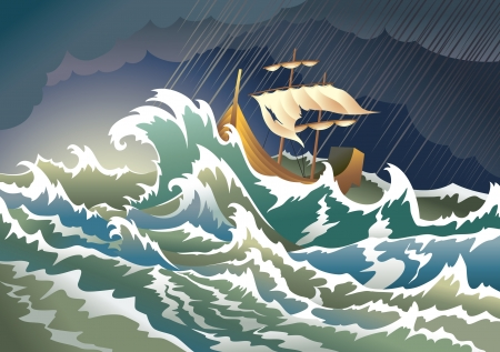 Ship sinking in the storm Vector