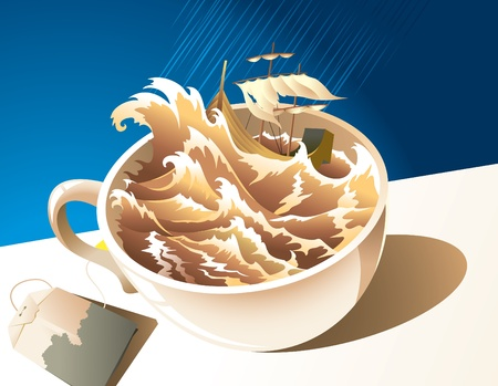 Illustration for proverb &acirc,%uFFFD%uFFFDA storm in a teacup&acirc,%uFFFD%uFFFD: storm, shipwreck, cup of tea and teabag on the table under the rain Vector
