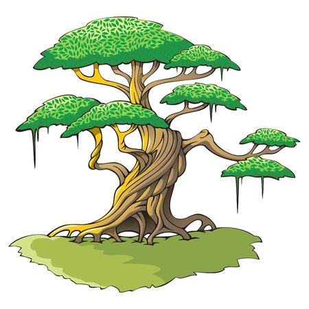 Crooked tree with plenty of leaves Stock Vector - 8359127