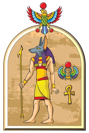 cartoon egyptian: Stylized image of Anubis, the god of ancient Egypt, old papyrus background, symbols of falcon,  scarab and ankh, vector illustration