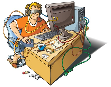 merged: Computer addiction: young man immersed himself in virtual world, merged with computer, vector illustration
