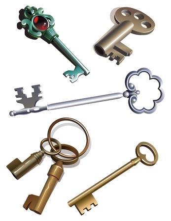 Collection of antique skeleton keys, gradient, realistic vector illustration Vector