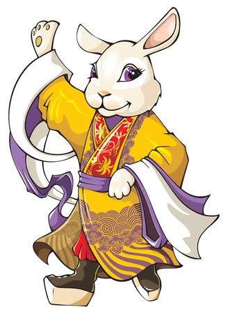 according: White rabbit, the symbol of coming 2011 year according Chinese lunar calendar, wearing traditional Beijing opera costume, vector illustration Illustration