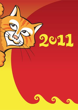 Chinese New Year background with cat, symbol of the year, greeting card, vector illustration Stock Vector - 8444319
